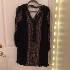 Black Aztec printed v neck dress